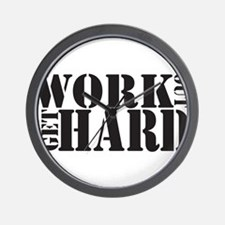 Work Out Get Hard - solid black Wall Clock