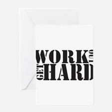 Work Out Get Hard - solid black Greeting Cards