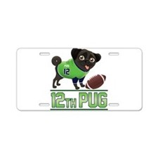 12th Pug Black (SPR) Aluminum License Plate