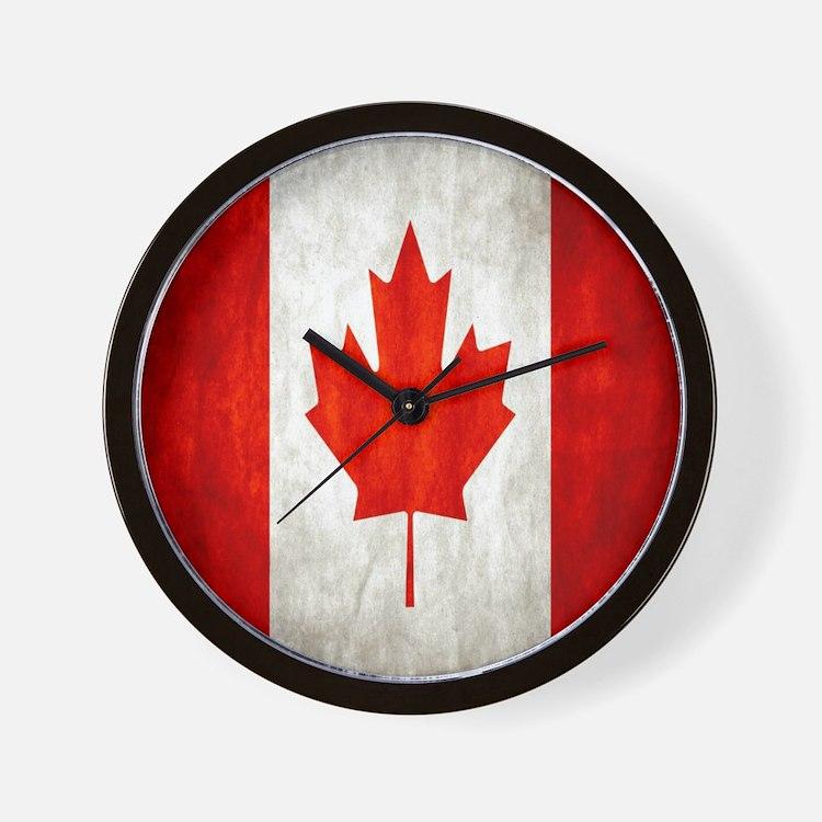 Canadian flag clocks canadian flag wall clocks large for Oversized wall clocks canada