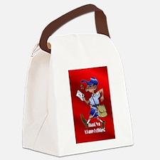 mailCarrierOrnblack.png Canvas Lunch Bag