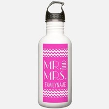 Pink and White Chevron Water Bottle