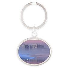 Foggy Sunset in Coronado Oval Keychain