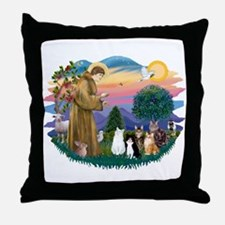 StFrancis-Lab & Sheltie Throw Pillow