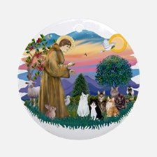 Stfrancis-Lab & Sheltie Ornament (round)