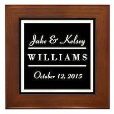 Personalized Black and White Family Ke Framed Tile