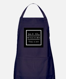 Personalized Black and White Family K Apron (dark)