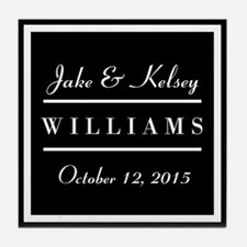 Personalized Black and White Family K Tile Coaster