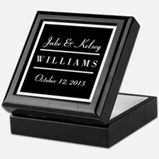 Personalized Black and White Family K Keepsake Box