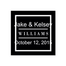 """Personalized Black and Whit Square Sticker 3"""" x 3"""""""