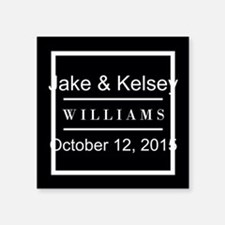 "Personalized Black and Whit Square Sticker 3"" x 3"""