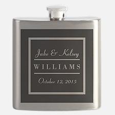 Personalized Black and White Family Keepsake Flask