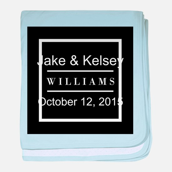 Personalized Black and White Family K baby blanket