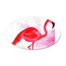 Flamingo Oval Car Magnet