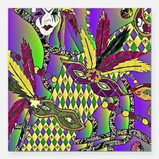 "Mardi Gras Feather Masks Square Car Magnet 3"" x 3"""