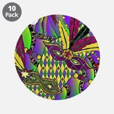 "Mardi Gras Feather Masks 3.5"" Button (10 pack)"