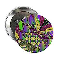 "Mardi Gras Feather Masks 2.25"" Button (10 pack)"