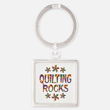 Quilting Rocks Square Keychain