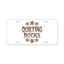 Quilting Rocks Aluminum License Plate
