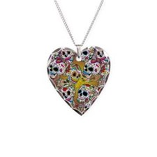 Sugar Skulls Necklace Heart Charm