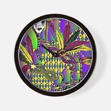 Mardi Gras Feather Masks Wall Clock