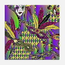 Mardi Gras Feather Masks Tile Coaster
