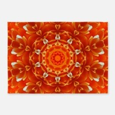 Orange Floral Kaleidoscope 5'x7'Area Rug