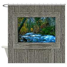 Cabin window autumn river Shower Curtain