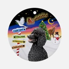 Xsigns-Black Standard Poodle Ornament (round)