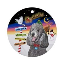 Xsigns-Silver Standard Poodle Ornament (round)