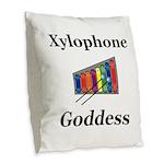 Xylophone Goddess Burlap Throw Pillow