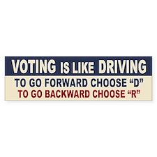 Voting Like Driving Bumper Bumper Sticker
