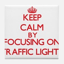 Keep Calm by focusing on Traffic Ligh Tile Coaster