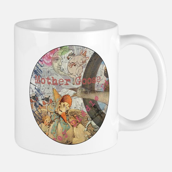 Vintage Mother Goose Collage Pretty Fairy tale Mug
