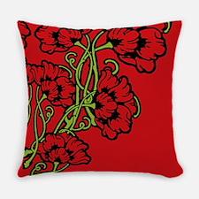 Red Art Nouveau Flowers Master Pillow