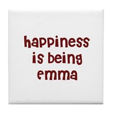 happiness is being Emma Tile Coaster