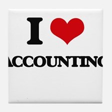 I Love Accounting Tile Coaster