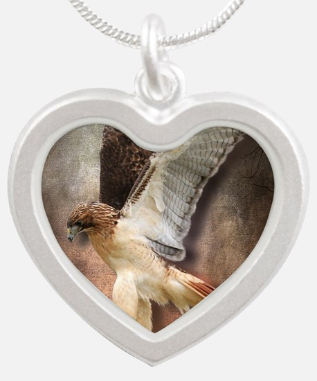 Red Tail Hawk in Vintage Lig Silver Heart Necklace