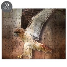 Red Tail Hawk in Vintage Light Puzzle