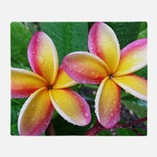 Maui Plumeria Tropical Flower Throw Blanket