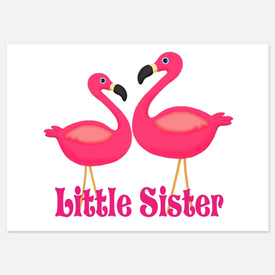 Little Sister Pink Flamingoes Invitations