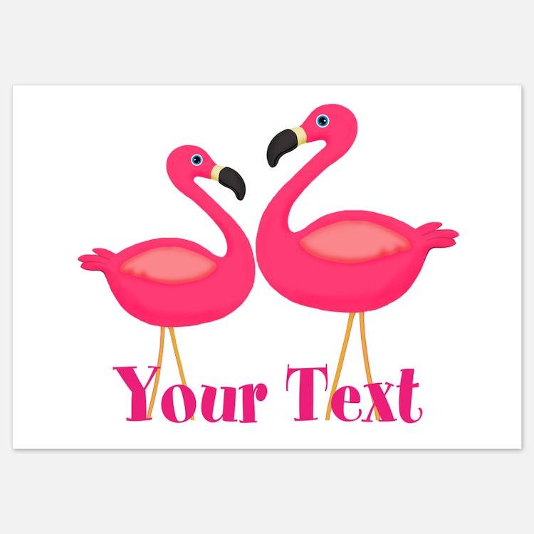 Personalizable Pink Flamingoes Invitations