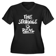 Cute Real Women's Plus Size V-Neck Dark T-Shirt