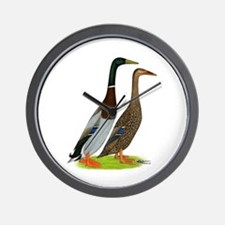 Runner Ducks Gray Wall Clock