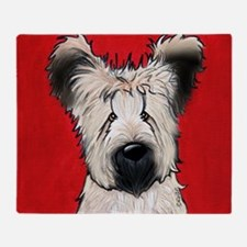 Briard Buddy On Red Throw Blanket