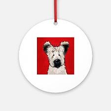 Briard Buddy On Red Ornament (Round)