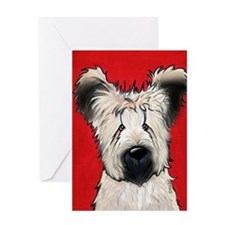 Briard Buddy On Red Greeting Cards