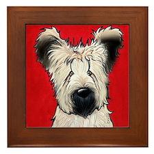 Briard Buddy On Red Framed Tile