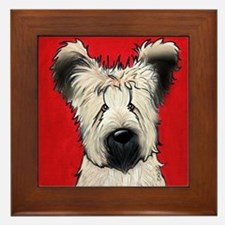 Briard Buddy On Red Framed Tile