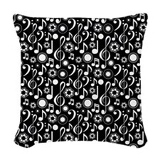 Music Notes and Clefs Woven Throw Pillow